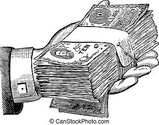 pengar, donation, vektor, grafisk