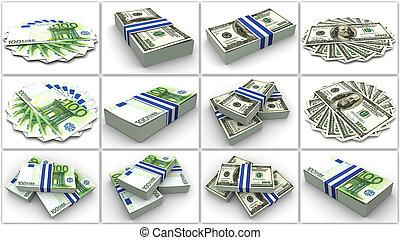 pengar., euro, och, dollar., collage