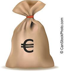 pengar, euro., vector., väska