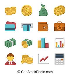 pengar färga, ikon, sätta