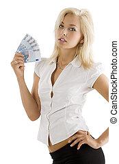 pengar, fan, blond