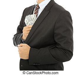 pengar, ficka, sätta, bakgrund, affärsman, vit