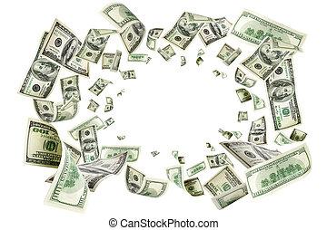 pengar, flygning, stjärnfall, kontanter., dollars, oss, hundra, amerikan, dollar.