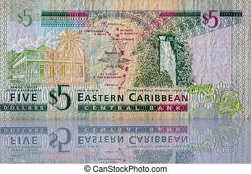 pengar, från, östlig, karibisk