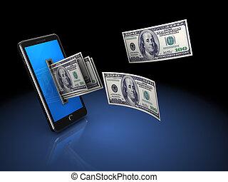 pengar, från, ringa