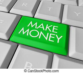 pengar, göra, dator facit, tangentbord
