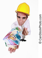 pengar, gjord, arkitekt, hus