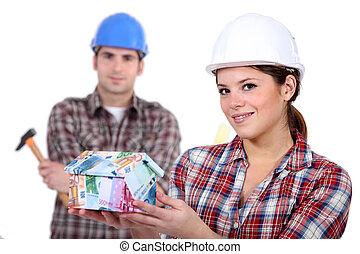 pengar, gjord, byggare, hus