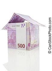 pengar, gjord, euro, fem hundra, hus
