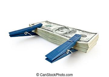 pengar, hög, isolerat, stor