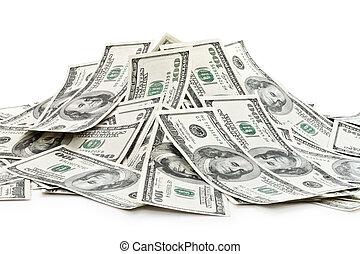 pengar, hög, stor