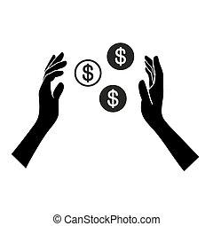 pengar, hand, bakgrund., vektor, vit, ikon