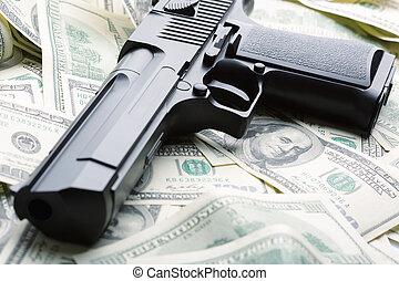 pengar, handeldvapen, hög