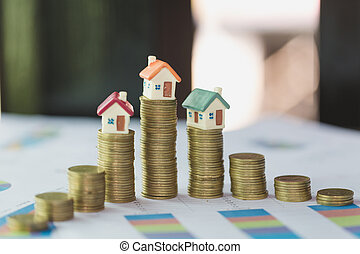 pengar, hus, house., stack, mini, mynter