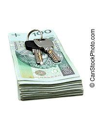 pengar, hus, polska, stämm, buntar