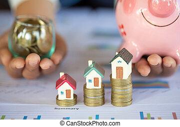 pengar, hus, stack, mini, mynter