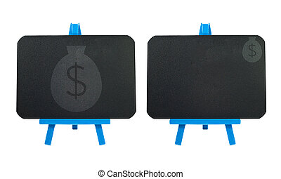 pengar, ikon, tom, bakgrund, blackboard