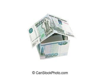 pengar, in, den, bilda, av, hus
