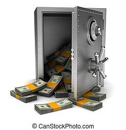 pengar, in, kassaskåp