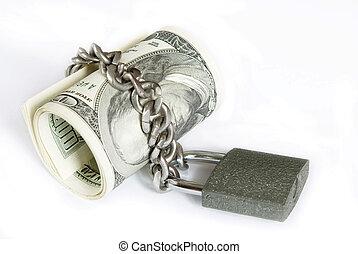 pengar, in, låsa