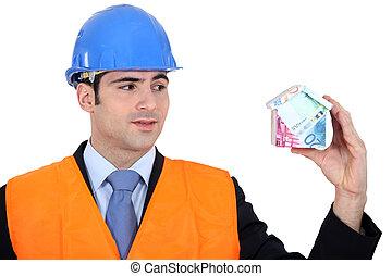 pengar, inspektör, gjord, hus