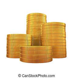 pengar, -, isolerat, bakgrund, vit, stack