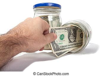 pengar, isolerat, ta, moneyboxes, ute