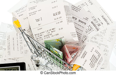 pengar, kärra, inköp, kvitton