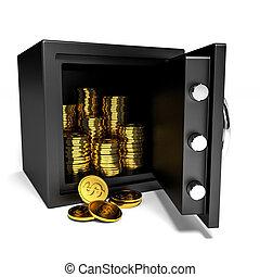 pengar., kassaskåp, öppnat, guld