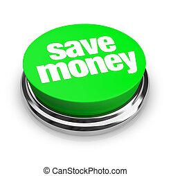 pengar, knapp, räddning, -, grön