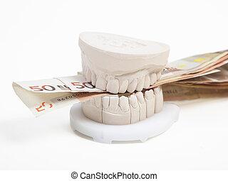 pengar, kosta, lott, tandproteser