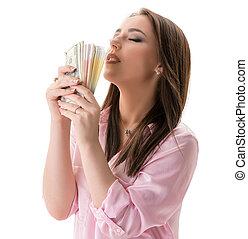 pengar, kvinna, concept., finansiell, välbefinnande