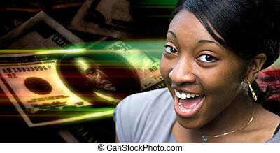 pengar, kvinna, lycklig