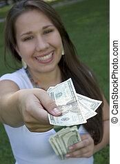 pengar, kvinna