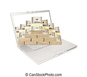 pengar, laptop, buntar, avskärma, kommande