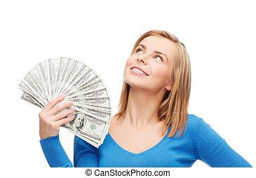 pengar, le, dollar, kontanter, flicka