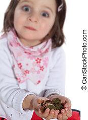 pengar, mynter, barn