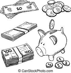 pengar, mynter, doodles