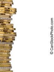 pengar, mynter, mot, bakgrund, vit, stack
