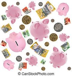 pengar, nasse, över, stjärnfall, stränder, australier, vit
