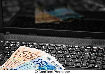 pengar, på, tangentbord