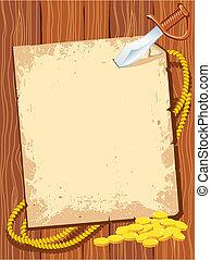 pengar, pappers- baktala, guld, bakgrund, text., sjörövare, ...