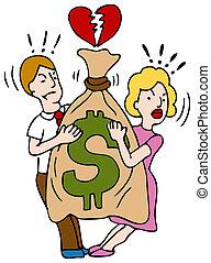pengar, par, över, stridande
