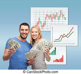 pengar, par, dollar, kontanter, holdingen, le