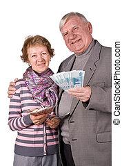 pengar, par, gift, äldre, räcker