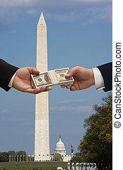 pengar, &, politik