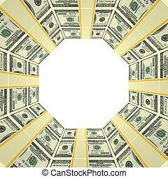 pengar, ram, bakgrund, tom