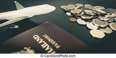 pengar, resa, begrepp, besparing, värld