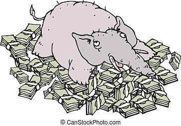 pengar, rik, lögnaktig, elefant
