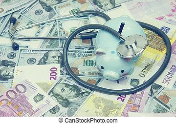 pengar, stetoskop, stack